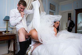 Смотреть анальный секс красивой брюнетки в свадебном платье с другом жениха