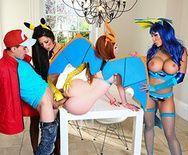Смотреть групповой трах пародию с пышногрудыми красотками покемонами - 3