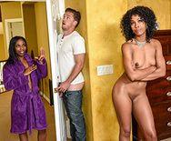 Межрассовый секс втроем опытной мамаши и её стройной дочери с парнем - 3