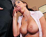 Безумный секс в офисе с пышногрудой брюнеткой в чулках - 2