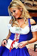Красивый трах грудастой официантки в чулках #5