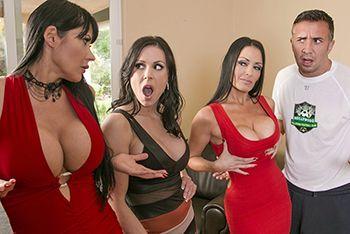 Смотреть групповой секс парня с тремя симпатичными брюнетками