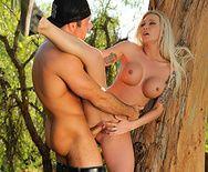 Смотерть зрелищный секс в лесу с пышногрудой блондинкой - 4