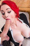 Смотреть жаркое порно с красноволосой пышной телкой #3