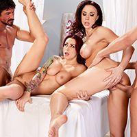 Групповое порно с красотками после эротического массажа