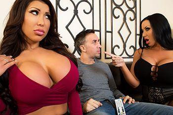 Смотреть групповое порно с двумя сисястыми брюнетками